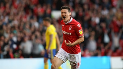 Joe Lolley celebrates as his first touch puts Forest back in the game.